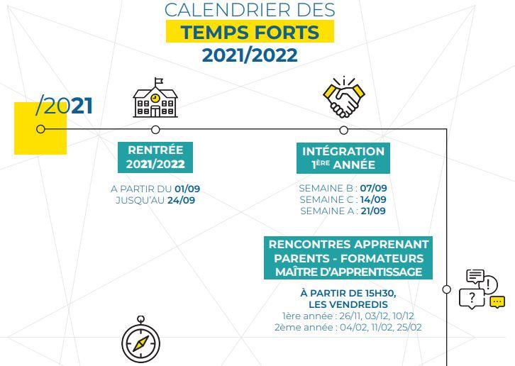 Calendrier des temps forts 2021-2022